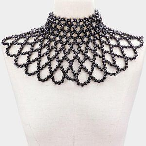Black Pearl Armor Bib Choker Necklace